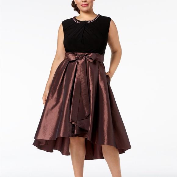SL Fashions Faux-Pearl-Embellished High-Low Dress NWT